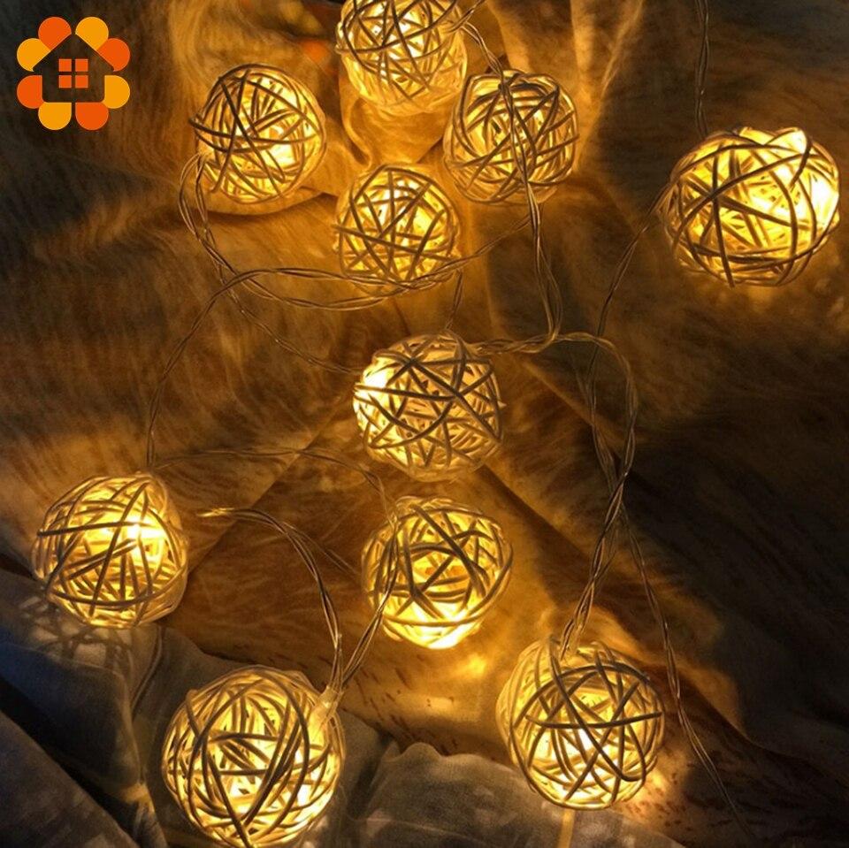 9Pcs Heart Shaped Rattan Ball Wicker String Light Fairy Lamp Wedding Decor