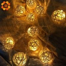 10/20pcs Colorful Rattan Ball LED Lights for Home Decor