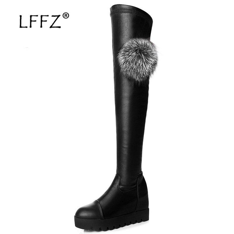 LFFZ Flat Heel High Knee Boots Women Fashion Thigh High women's winter shoes Fur Ball Decoration women's winter boots