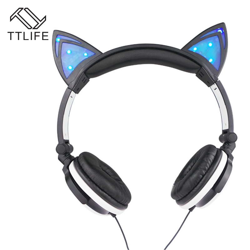TTLIFE Brand 3.5mm Cute Wired Headphones Personality Cat Ears Headset Folding Flashing Earphones Headband For Music