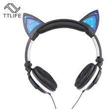 TTLIFE Marca 3.5mm Lindo Orejas de Gato Personalidad Intermitente Auriculares Diadema Plegable Auriculares Auriculares Con Cable Auriculares Para Música