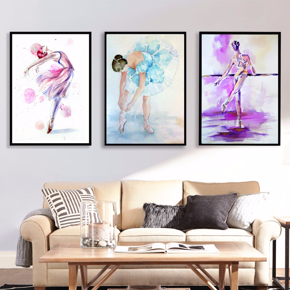 Watercolor Ballerina Women Canvas Art Print Painting