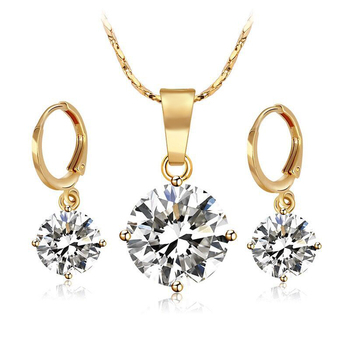 18 k Gold Color Single Stone Jewelry set Women ( Pendant Necklace and Earring) High Quality Not Allergic vq30det エキマニ