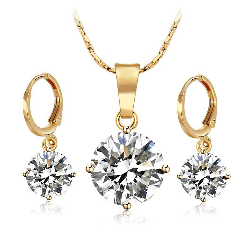 18 k Gold Color Single Stone Jewelry set Women ( Pendant Necklace and Earring) High Quality Not Allergic Кольцо