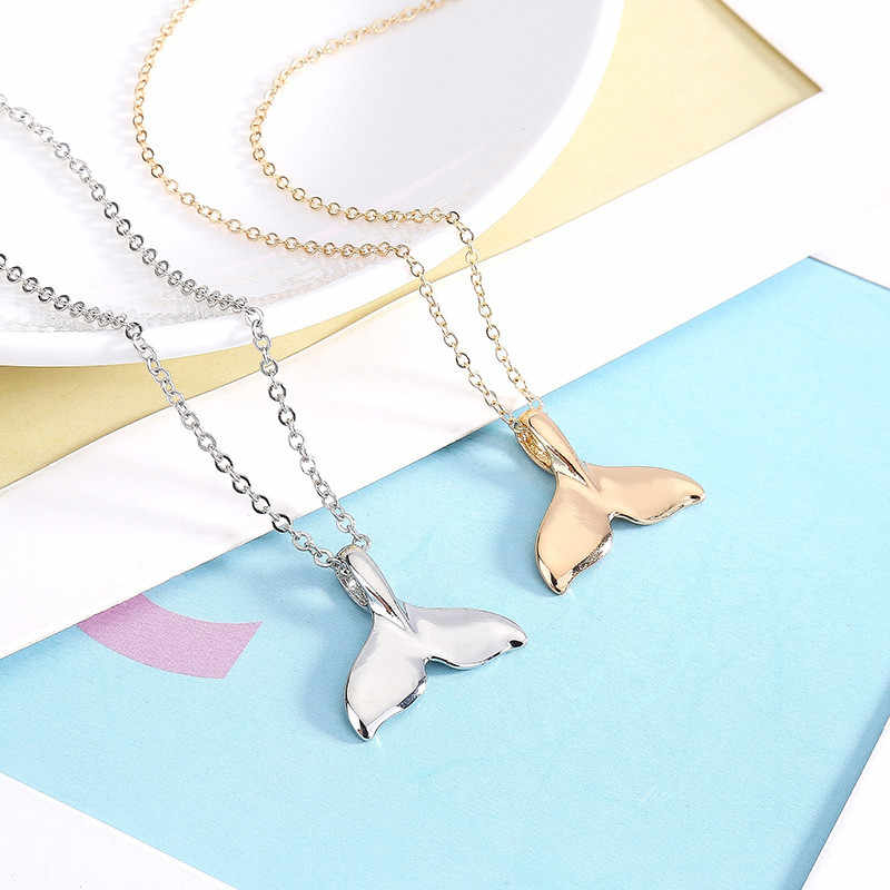 Retro Women Whale Necklace Tail Fish Nautical Chokers Charm Mermaid Tail Pendant Necklace Jewelry Chokers Ornaments Pendientes