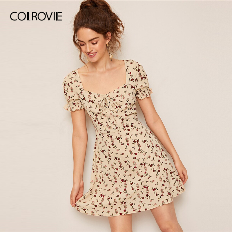 COLROVIE Apricot Tie Neck Ruffle Cuff Ditsy Floral Print Boho Short Dress Women 2019 Summer Scoop Neck Vacation Ladies Dresses