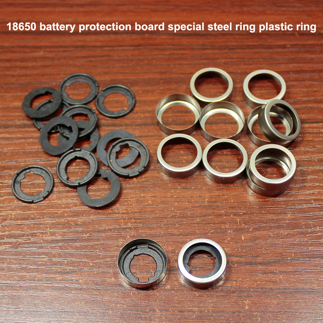 100pcs/lot 18650 lithium battery protection board stainless steel ring cap battery protection board rubber pad base rubber ring