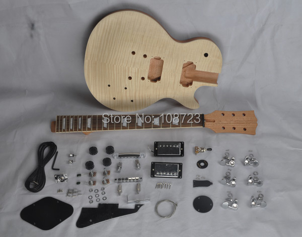 DIY LP Guitars Mahogany Body Unfinished Electric Guitar Kit With Flamed Maple Top Dual Humbuckers free shipping new unfinished left hand electric guitar in natural color with mahogany body diy your guitar foam box f 1195