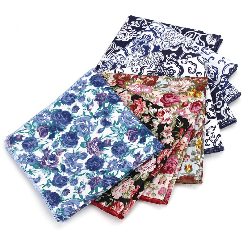 Men Colorful Flower Floral Handkerchief Hanky Wedding Business Pocket Square YFTIE0059