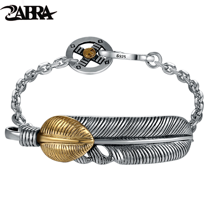 Old silversmith 925 silver bracelet golden feather character skills Punk ICONS fashionable nightclub rock silver bracelet