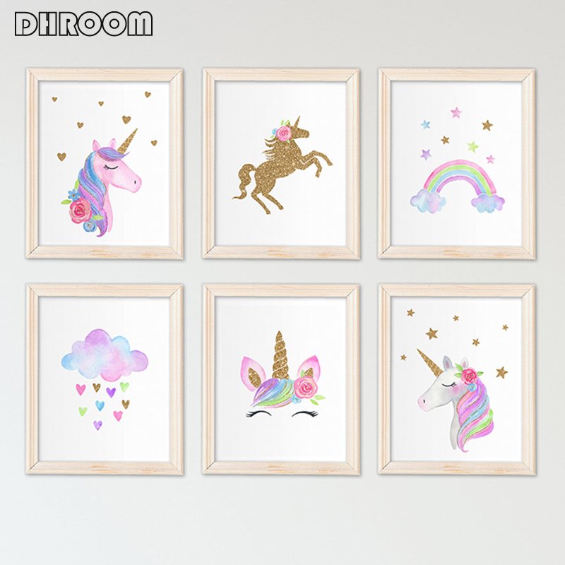 Nordic Unicorn Wall Art Gold Glitter Prints Pink Nursery Cloud Rainbow Canvas Poster Painting Wall Picture Kids Room Decor