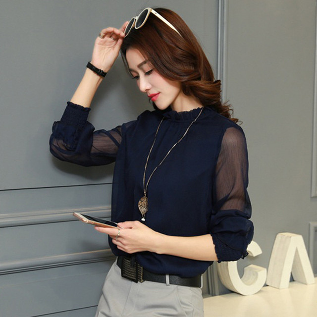Chiffon Long Sleeve Solid Color Blouse 1