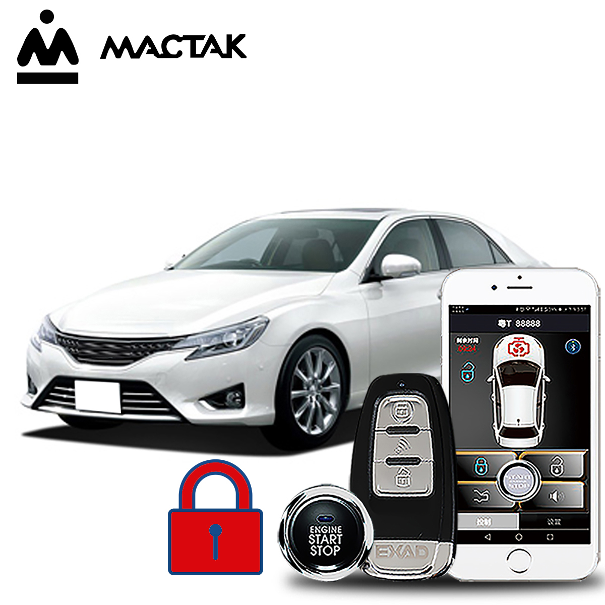 MACTAK REIZ 2014  car accessories Keyless Entry Comfort System PKE Phone APP Remote Start Car Engine Alarm Push 963