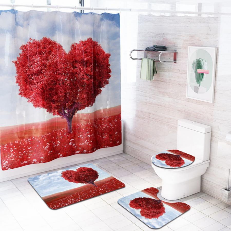 4Pcs Lovely Landscape Pattern Shower Curtain + Waterproof Non-slip Mat Toliet Cover Pedestal Rug bathroom shower set