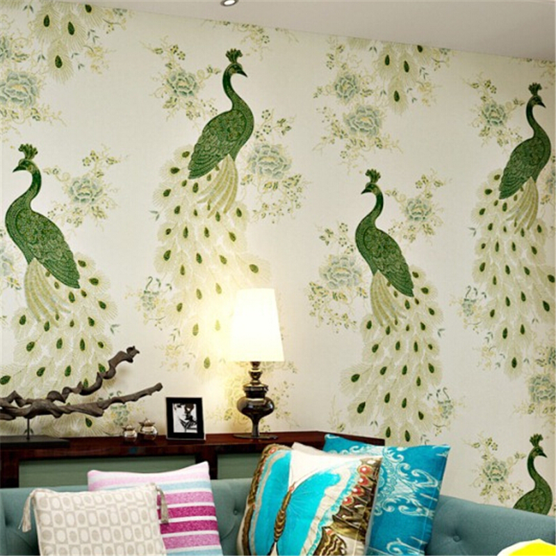 ФОТО beibehang  papel de parede 3d Vinyl Art Decals for background wall paper Birds Flower Floral Embossed non-woven wallpaper Bird