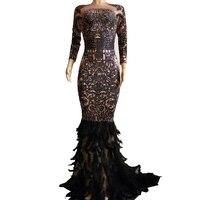 Блестящие Стразы Перо Труба платье Для женщин пикантная обувь для ночного клуба черный длинное платье костюмы на выпускной день рождения, п