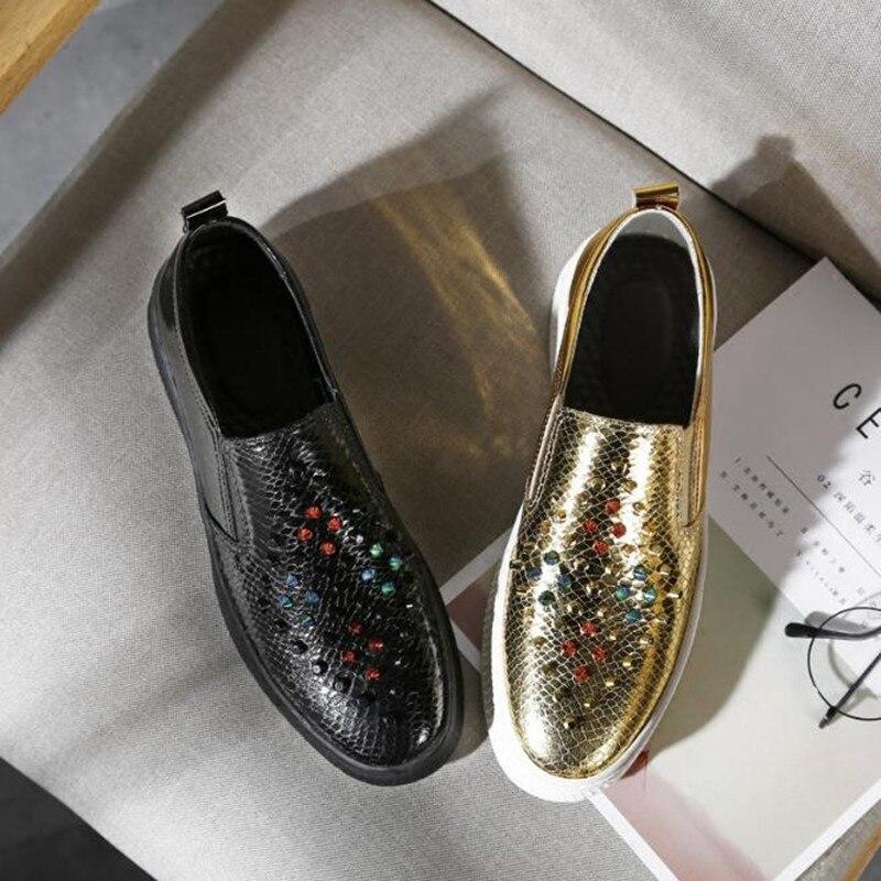 De Preto Masculino Ouro Black Sapatos Plana Sapatas Lona golden Outono Preguiçosos Casuais E Do Homens Sexo Rebites Dos Flats Grosso Primavera Fundo FHdg7q