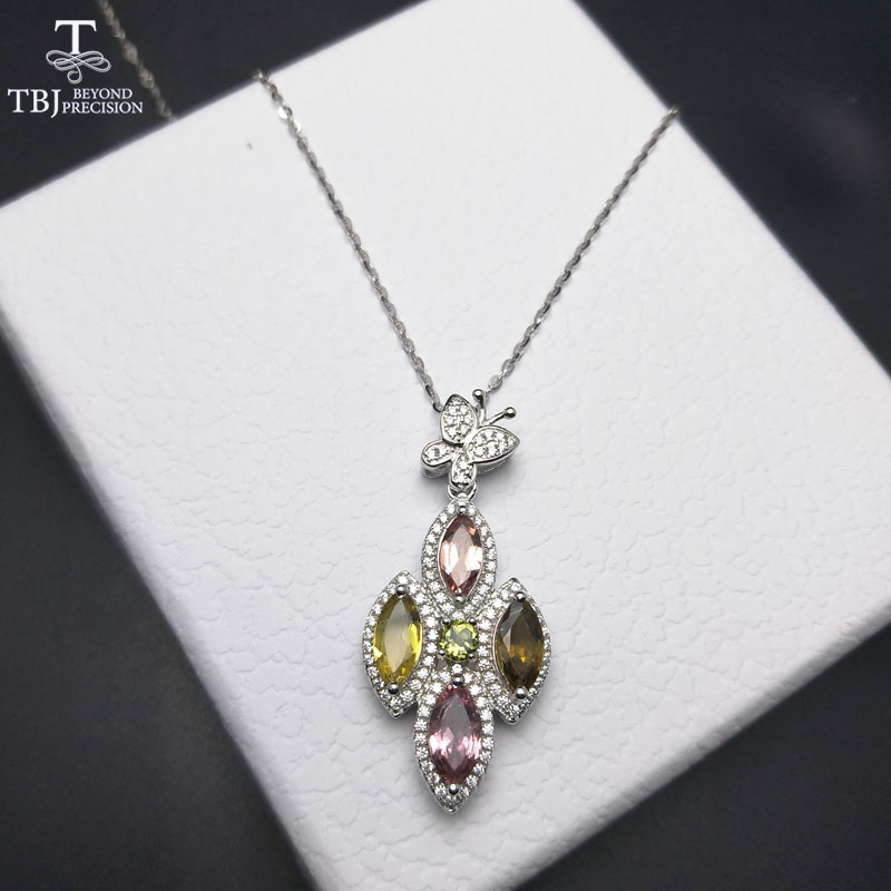 TBJ ,Elegant batterfly new design with natural tourmaline gemstone pendant necklace in 925 sterling silver jewelry with gift box