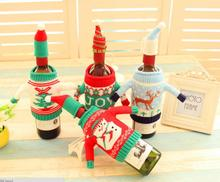 4sets/lot high quality Christmas decorate red wine beer knitting sweater bottle sets cover family hotel Restaurant used