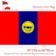 Free shipping 90*150cm 60*90cm Flag US State of California Downey City 3x5 Feet Custom Hanging Flags For Home decoration