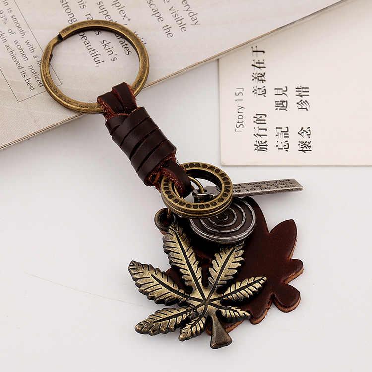Медь покрытие сплава Листья Подлинная Leaf кожа Для мужчин Для женщин брелок ювелирные изделия автомобильный брелок кольцо держатель мешка кулон