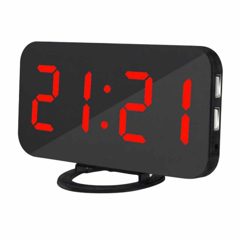LED cyfrowy pulpit lustro budzik drzemki czas wyświetlania z podwójnym portem USB do telefonu, automatycznie dostosować jasność w