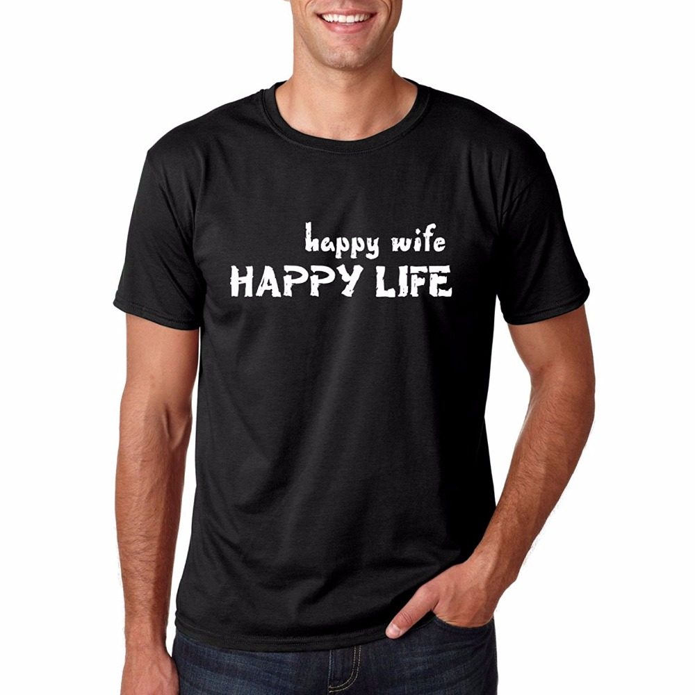 Cool T Shirts Online Novelty Short Happy Wife Happy Life Funny Couples Gift Prime Cotton Mens T-shirt O-Neck Tees For Men