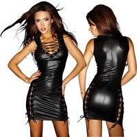 עור סקסי המראה הרטוב ויניל V העמוק תחרה עד מועדון dress bodycon dress נשים חזרה ציפר שמלות מפלגה קצרה אופנה vestidos