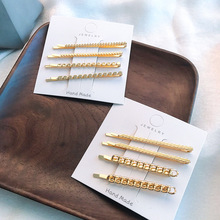 все цены на 1 pair Women Simple Gold Metal Link Twist Wavy Shape Hairpins Personality Alloy Bobby Pins Girls Fashion Hair Clips For Daily онлайн
