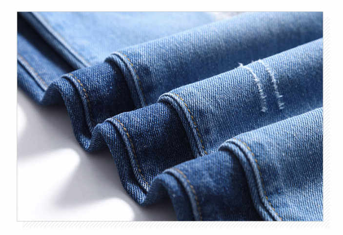 Jeans rasgados 2019 nueva moda 5XL talla grande Vintage lápiz pantalones Denim elástico talla grande Corea azul profundo agujero caliente vaqueros ouc1950