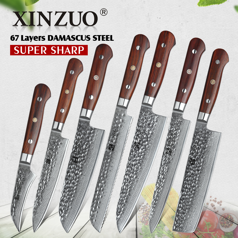 Ev ve Bahçe'ten Bıçak Setleri'de YENI 2019 Şam Çelik Mutfak Bıçakları Seti El Yapımı Bıçak Şef Pişirme Araçları Gül ahşap Saplı Yüksek Kaliteli Çevre Dostu Ürünler'da  Grup 1