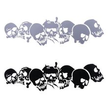 22.8*6.7CM SKULL Vinyl Car Stickers Motorcycle Decals Styling Accessories Fashion Black/Silver