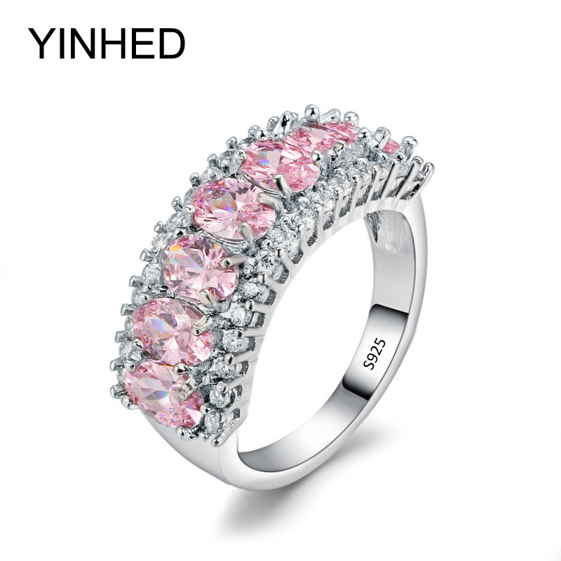 yinhed 100 solid 925 sterling silver rings for women bridal wedding jewelry fashion pink cubic zircon cz engagement ring zr390 - Cheap Wedding Rings Under 100