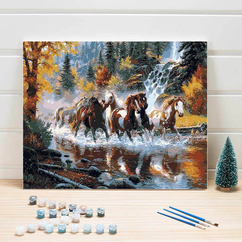 Paint Oil Painting By Numbers Animal Horses Acrylic Coloring Art On Canvas DIY Wall Picture For Living Room Adult Woman Draw Set