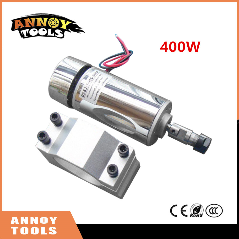 Free Shipping ANNOYTOOLS 400W cnc DC spindle motor 52mm 12-48v motor + ER11 chuck + clamp ER11 mount bracket for PCB Engraving shop promotions free 1pcs 3 175 1 8 chuck 10pcs dc 12 57 cnc 200w spindle motor mount bracket 12 110vdc for engraving carving