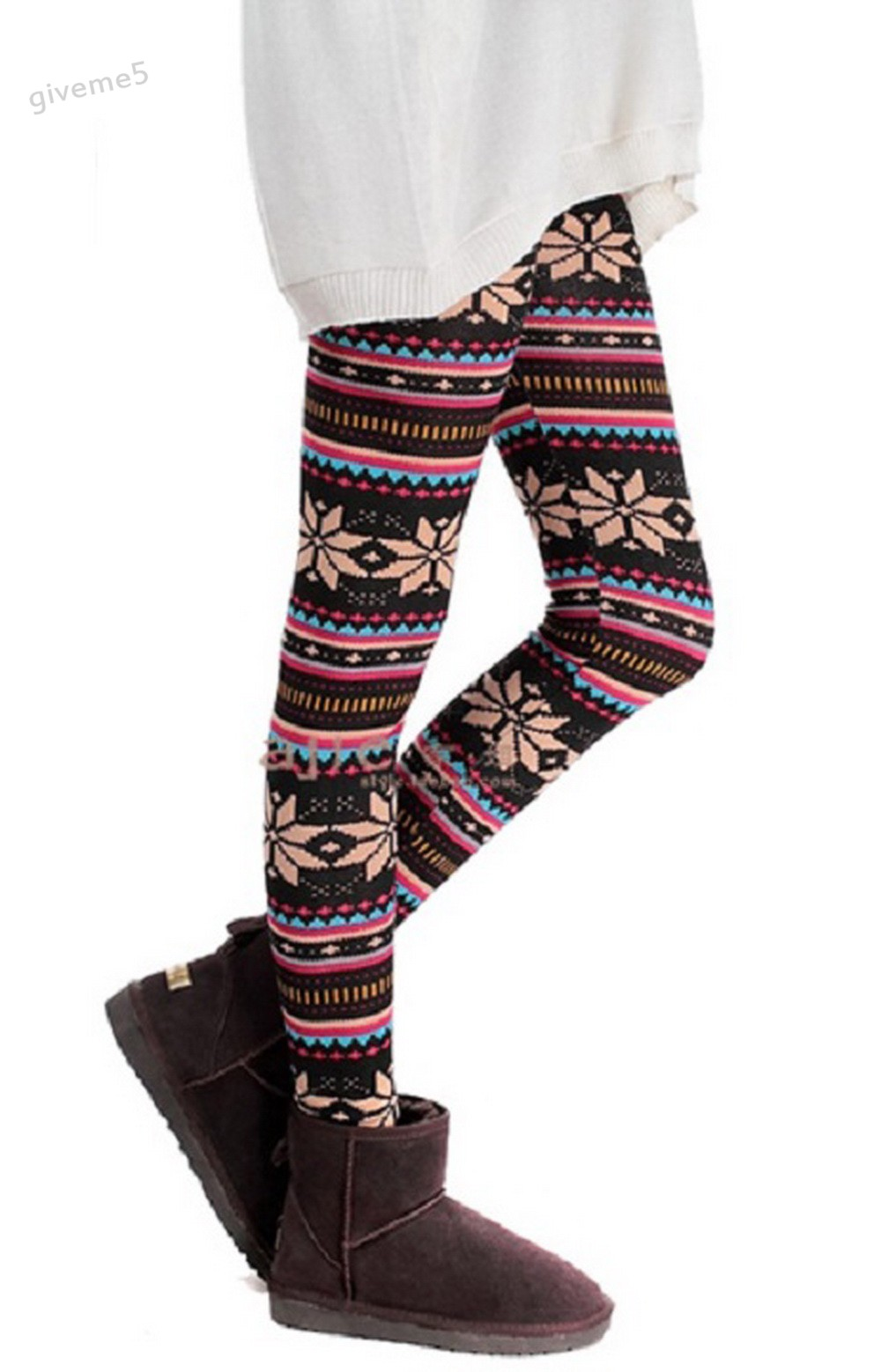 Thick Warm Winter Cotton Blends Lined Leggings Snowflakes Printed Female Slim High Elastic Thermal Fitness Skinny Leggings U2
