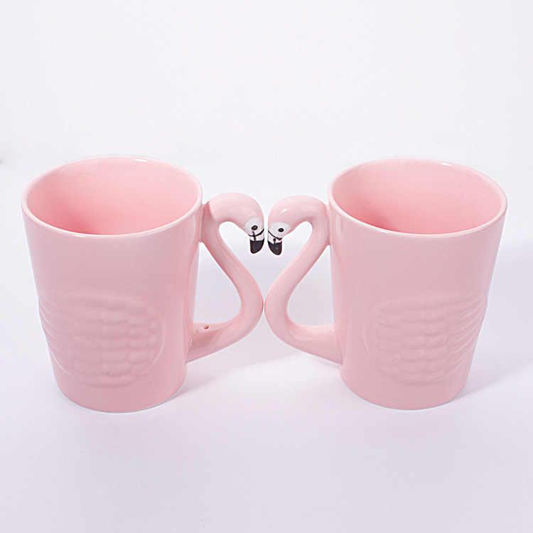 Super Cantik 3D Flamingo Merah Muda Kopi Cangkir Mug Gelas Fashion Cute Air Minum Porselen Cangkir Teh Gadis Ulang Tahun Hadiah Gratis Pengiriman