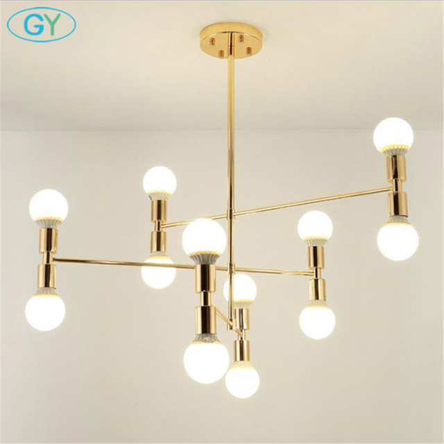 Us 130 0 Nordic Postmodern Minimalist Gold Chandelier Lamp Living Room Dining Room Lustres Hanging Lamp Art Golden 12 Light Chandeliers In
