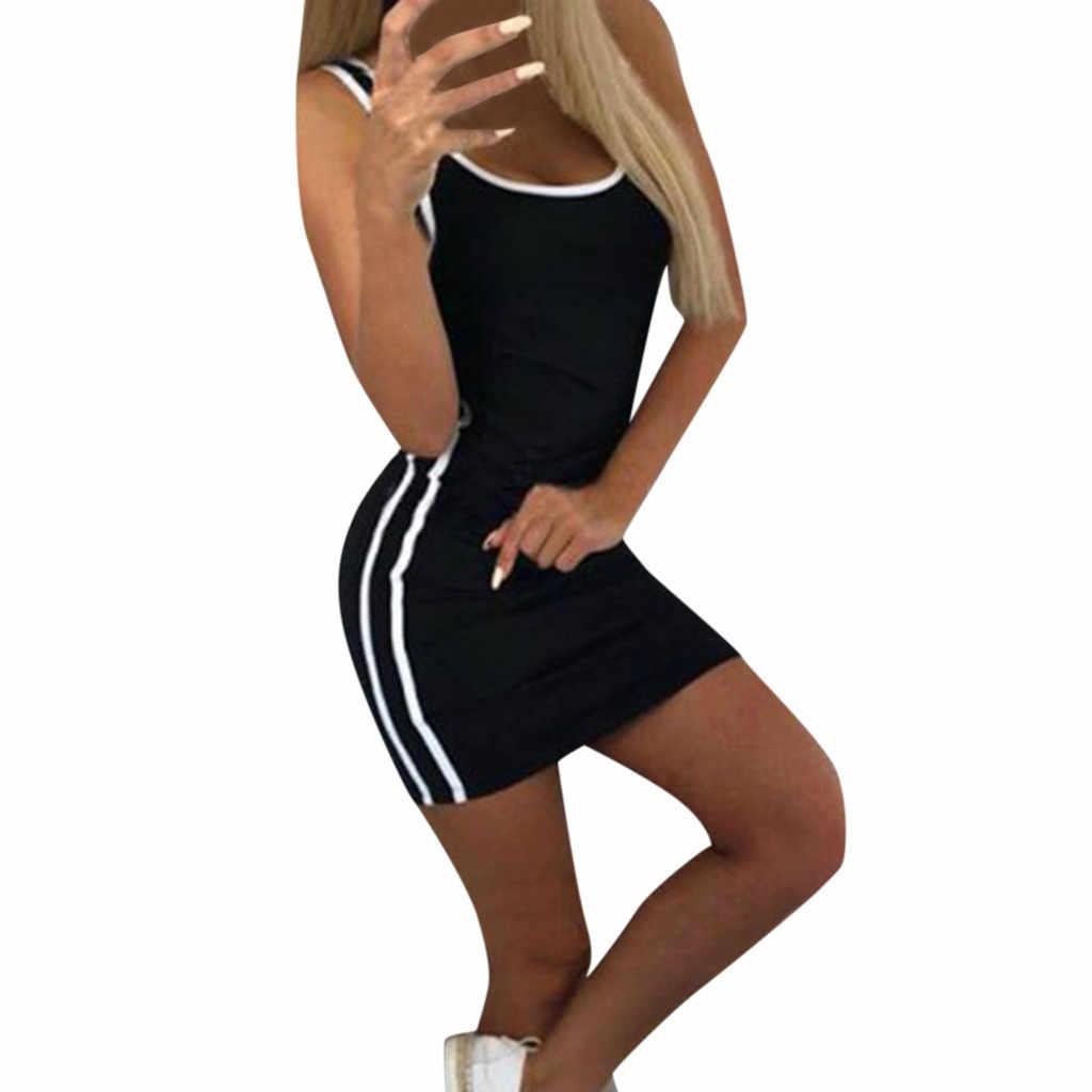 JAYCOSIN 2019 новое летнее женское привлекательное облегающее платье в полоску, в бедрах, однотонная ткань, спортивный, круглый вырез, без рукавов, облегающий мини-сарафан 9032122