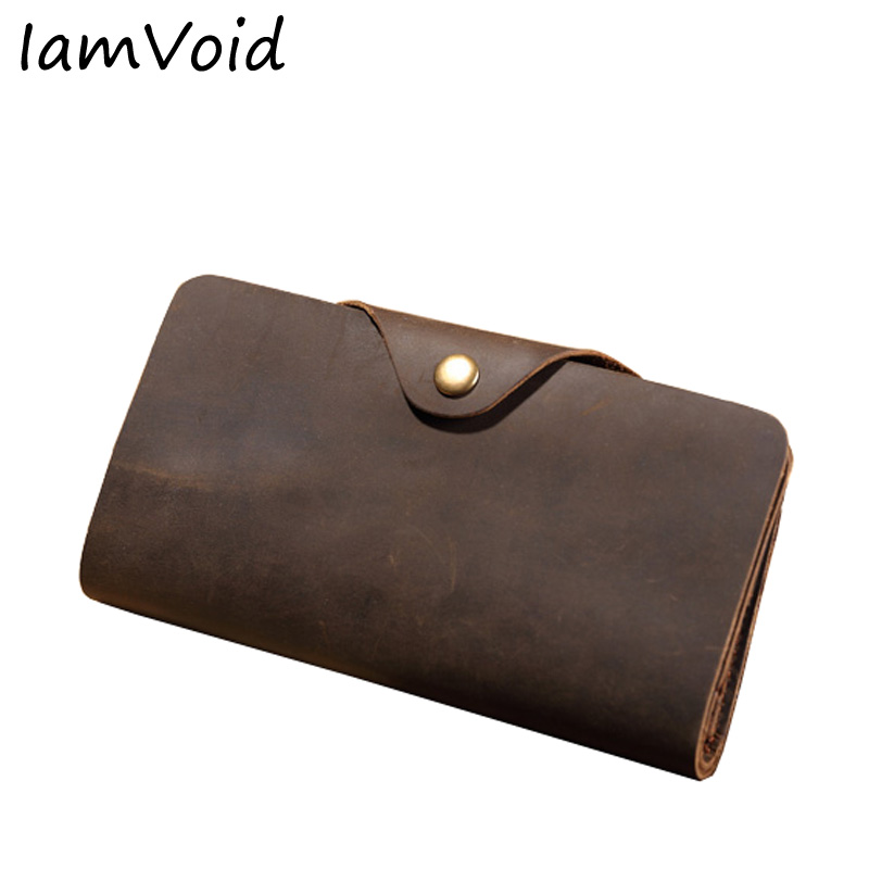IamVoid Men s classical vintage leather wallet Raw Natural Crazy Horse Cowhide Genuine Leather Purse for