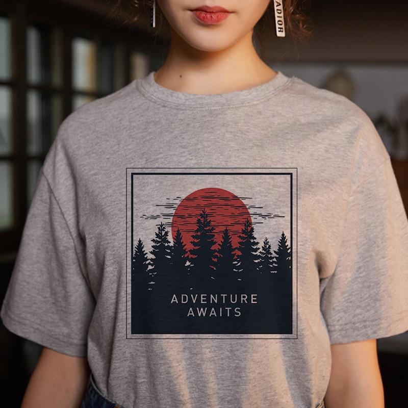 Women's fashion cartoon printed letter short-sleeved casual T-shirt shirt 1