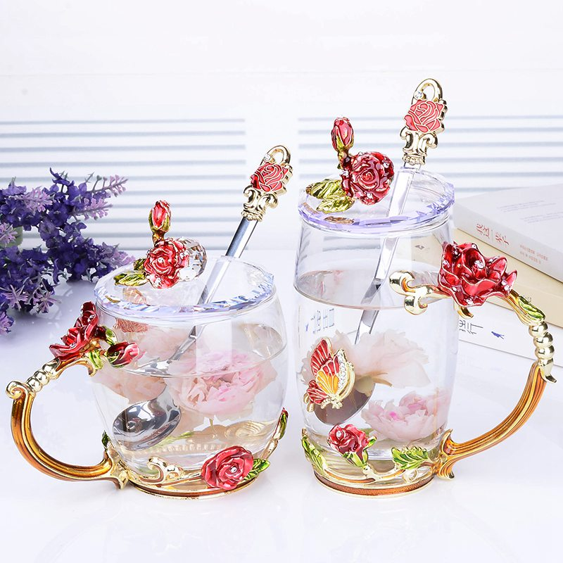 Beauty And The Best Novelty Enamel Flower Coffee Cup Mug Tea Butterfly Glass Cups For Wedding Gifts Christmas Gift