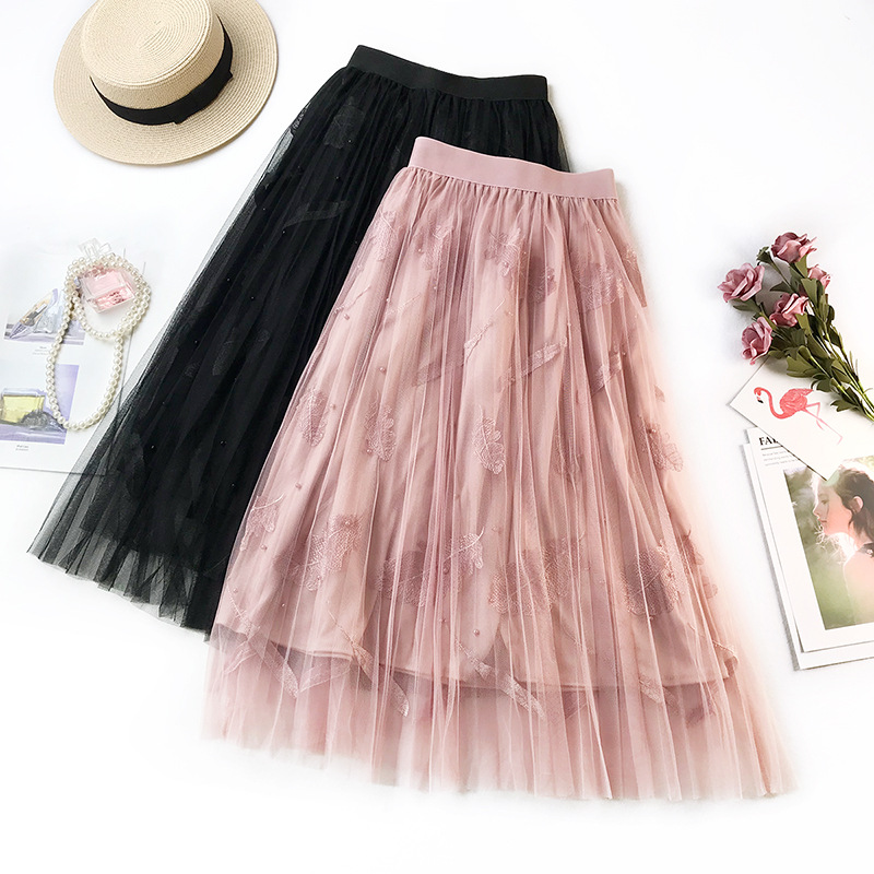 Wasteheart Pink Black Women Skirts Fashion Women High Waist Ball Gown A-Line Mid-Calf Skirt Mesh Clothing Pleated Long Skirts