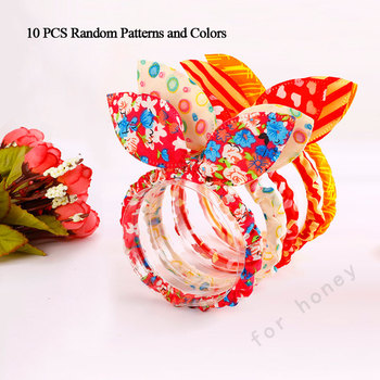 10PCS/Lot Mix Styles Dot Flower Leopard Trip Rabbit Ears Hair Rope Girls Cute Ponytail Holder Scrunchy Kids Hair Tie Accessories 1