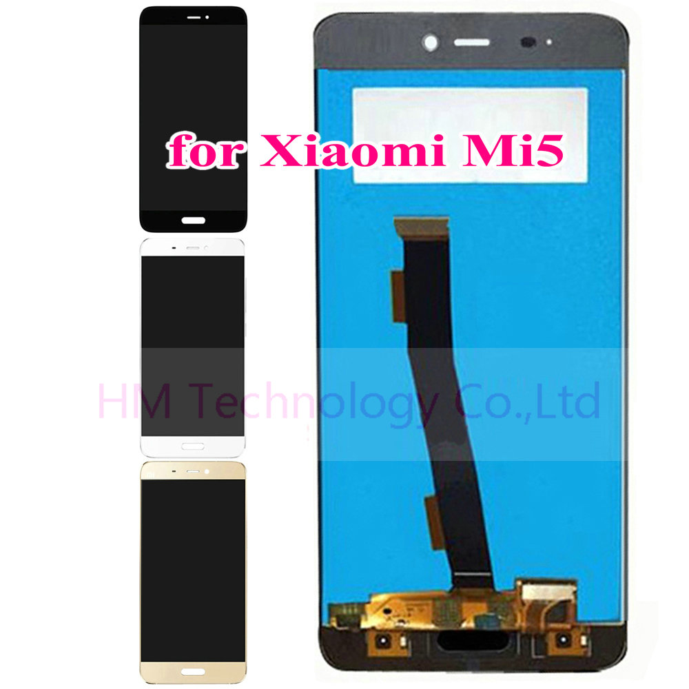 Black White Gold LCD Display Touch Screen Digitizer Glass Sensor for Xiaomi 5 Mi5 M5 Replacement