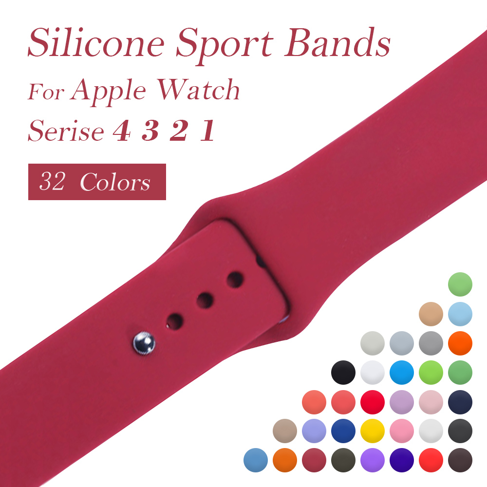все цены на YOLOVIE Silicone Sport Band for Apple Watch 38mm 42mm 40mm 44mm Bracelet Belt Wrist bands Strap for iWatch Series 4/3/2/1 онлайн