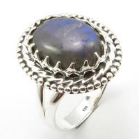 Oval Cabochon Labradorite Ring Sz 7.75 Solid Silver Women Stone Jewelry Unique Designed