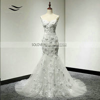 New Arrival Sexy Lace Beach Wedding Dress Sweetheart Appliqued Side Slit Casamento 2016 Custom Made Bridal