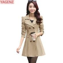YAGENZ Printemps Automne Tranchée Manteaux Pour Femmes Slim Sauvage Moyen  longueur Femelle Coupe-Vent Manteau c7813a78916