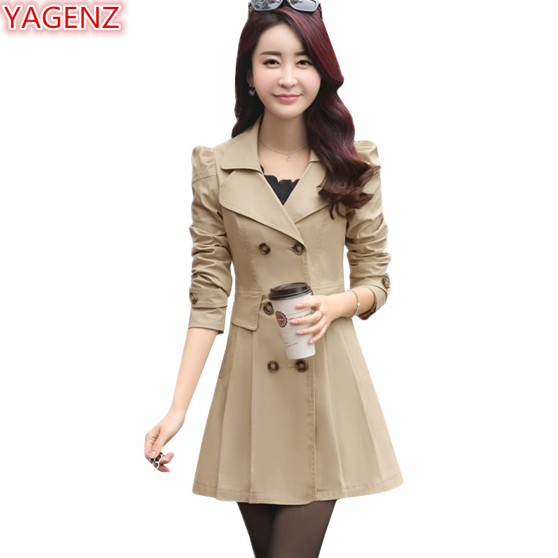 YAGENZ Spring Autumn   Trench   Coats For Women Slim Wild Medium length Female Windbreaker Coat Double-breasted Tops Casual style548